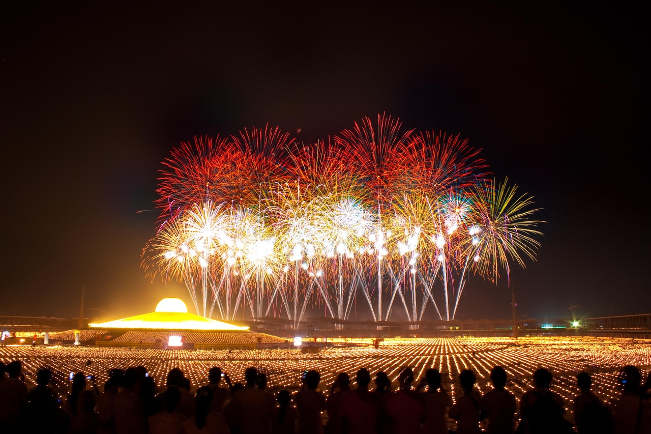 large fireworks display, new years resolutions