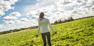 Ingrid Margus in a green field, Law of Attraction