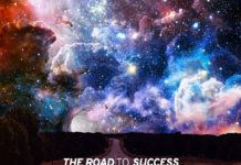 "A mysterious road with a mesmerizing sky scene with the quote ""The road to success is always under construction."""